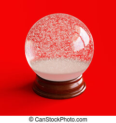 Empty snow globe isolated on red backgorund