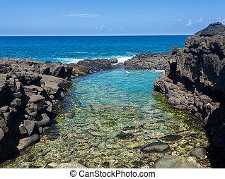 Princeville, playa, Turistas,  Kauai, reinas
