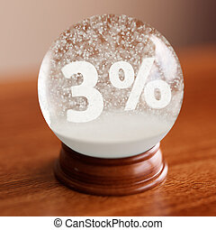 Snow globe with 3 percent discount title inside on wooden...