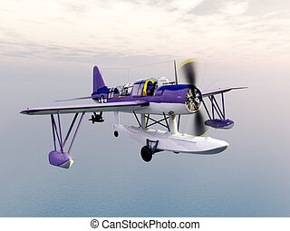 American observation floatplane - Computer generated 3D...