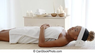 Beauty Woman Getting Spa - Beautiful african american woman...