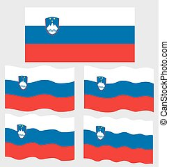 Flat and Waving Flag of Slovenia