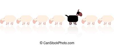 Black Sheep White Sheep Cartoon - Black sheep looking up -...