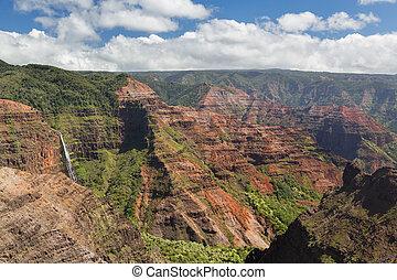 Waimea Canyon Kauai island Hawaii - View into the Grand...