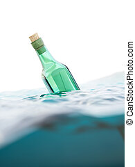 Green glass bottle with letter in the sea