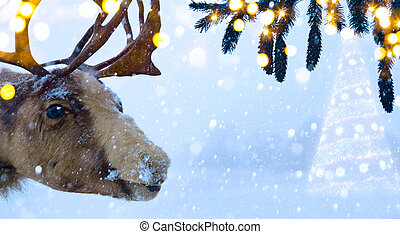 art Christmas holidays background with Santa Claus deer and...
