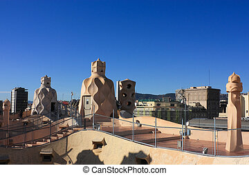 terrace of the Casa Mila - On the terrace of the Casa Mila...