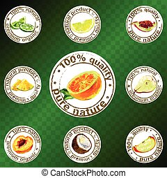painted fruit icon vector - Labels of natural organic...