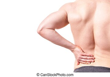 Man with back pain - isolated, white background