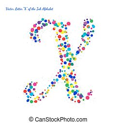 Vector Letter X from Bright Color Ink Blots with Splashes