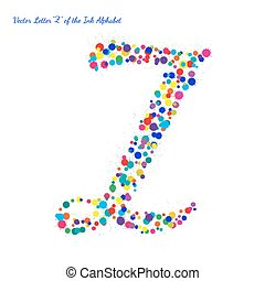 Vector Letter Z from Bright Color Ink Blots with Splashes