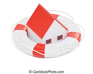 Abstract private house inside of lifebuoy concept isolated...