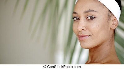 Young Girl On A Blurred Background - Close up portrait of...