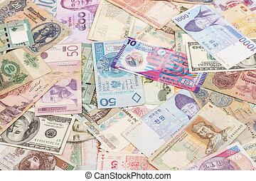 currency from around the world, background