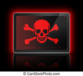 Digital tablet with a pirate symbol on screen. Hacking...