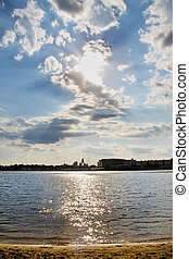 Dnieper River - cloudy sky and the sunset on the Dnieper...