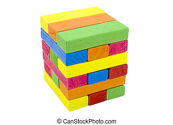 Multicolor wooden toy blocks, isolated white background