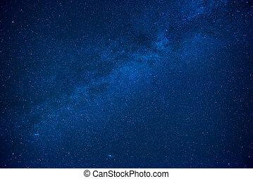 Blue dark night sky with many stars Milkyway cosmos...