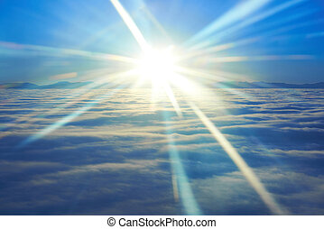Blue sky, sunset sun and clouds - Amazing sky view from...