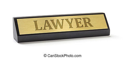 A name plate on a white background with the engraving Lawyer