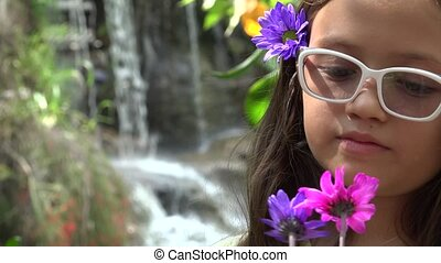 Young Girl with Flowers and Waterfall - Young Girl with...