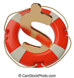US dollar saving concept - US dollar sign inside of lifebuoy...