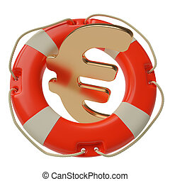 Euro saving concept - Euro sign inside of lifebuoy isolated...