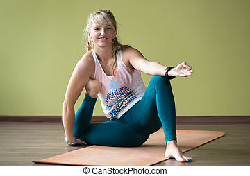 Variation of Yoga Dandasana Pose - Sporty happy smiling...