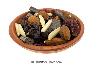 Chocolate plus nuts and cranberry trail mix