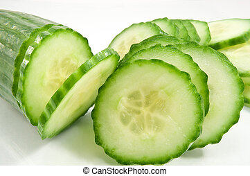 Partially sliced cucumber - Close up and low level angle...