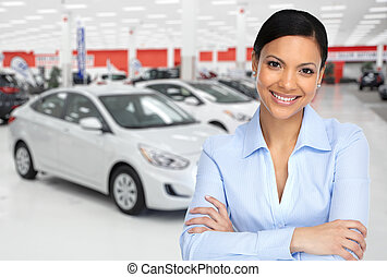 Car dealer. - Car dealer woman. Auto dealership and rental...