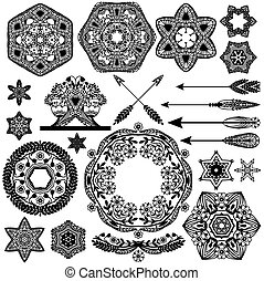 Vintage vector objects for your retro design. Set of Decorations Elements, Ornaments and Frames.