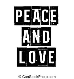 Black vector grunge stamp PEACE AND LOVE