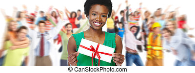 Young African american girl with envelope. - Young smiling...