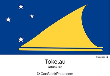 National flag of Tokelau with correct proportions, element,...