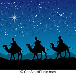 Christmas scene with the three wise