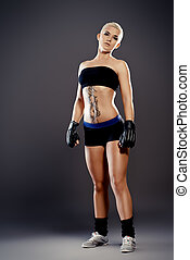combative girl - Portrait of a professional athlete woman...
