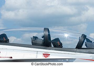 Cockpit of fighter jet