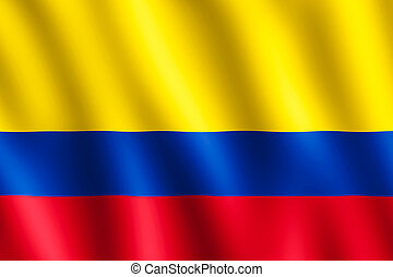 Flag of Colombia waving in the wind