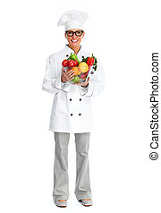 Chef woman with vegetables - Beautiful Chef woman isolated...