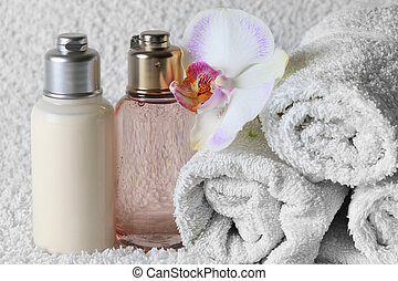 Bodycare products and a beautiful orchid