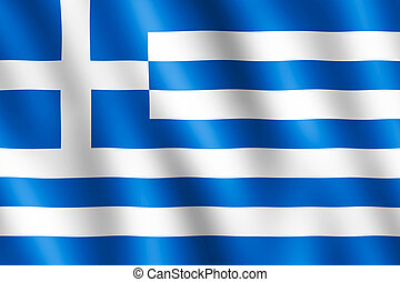 Flag of Greece waving in the wind giving an undulating...