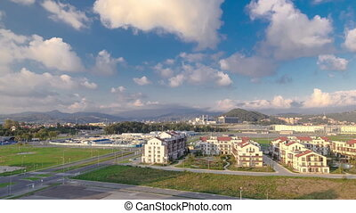 Olympic village timelapse. Complex of dwelling-houses, where...