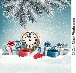 Winter background with presents and clock Vector