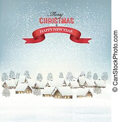 Holiday Christmas background with a village and a red gift ribbon