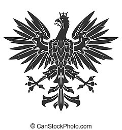 Black Heraldic Eagle - Black Eagle For Heraldry Or Tattoo...