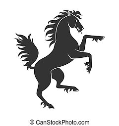 Black Rearing Horse - Black Rearing Up Horse For Heraldry Or...