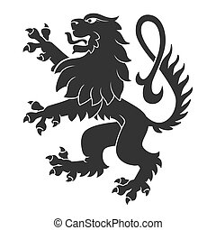 Black Standing Lion For Heraldry Or Tattoo Design Isolated...