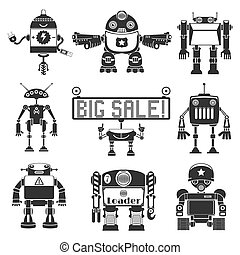 Funny Robots Silhouette - Collection Of Cartoon Funny Robots...