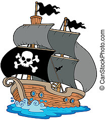 Pirate sailboat on white background - vector illustration.